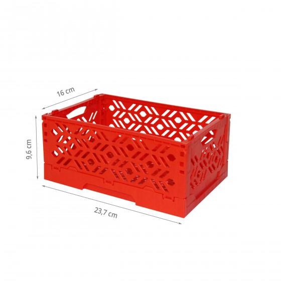 Mini Cagette en plastique rouge empilable et pliable