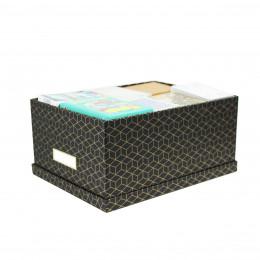 Boîte en carton noir et doré