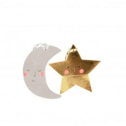 20 étiquettes cadeaux lunes et étoiles