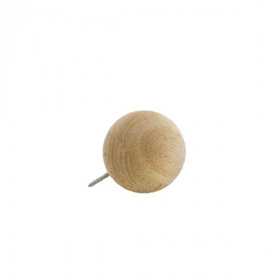 Patère boule en bois à visser. Taille L