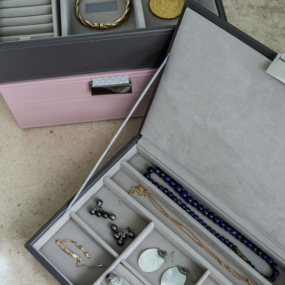 Boîte à bijoux en simili cuir et intérieur velours