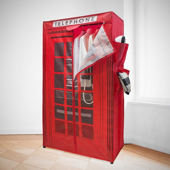 Armoire London rouge toile