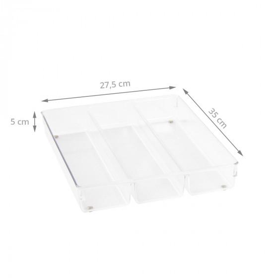 Range-couverts à 3 compartiments en acrylique transparent