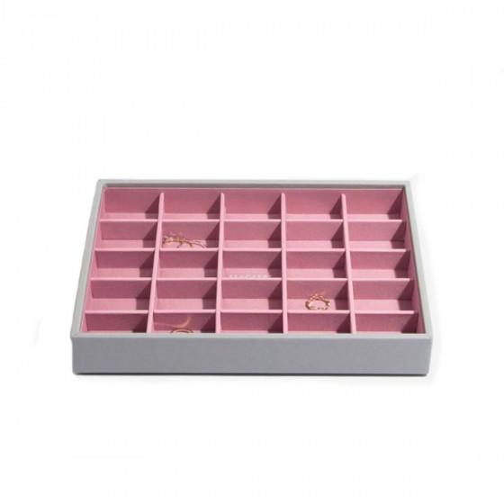 Plateau à bijoux 25 compartiments roses