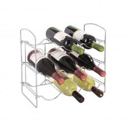 Range 9 bouteilles en métal chromé