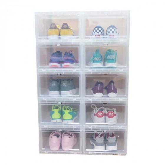 Boîte à chaussures en plastique transparent avec porte frontale