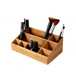 Rangement maquillage en bambou 9 compartiments
