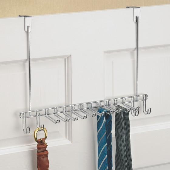 Porte-cravates et ceintures à suspendre en métal chromé