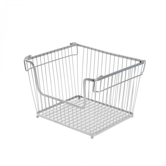 Panier métallique rectangulaire en métal chromé empilable taille L