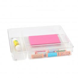Grand organisateur de tiroirs à 3 compartiments en plastique transparent