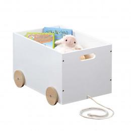 Caisse à jouets en bois à roulettes