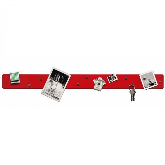 Barre magnétique murale rouge avec 12 aimants fins et puissants