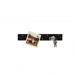 Petite barre magnétique murale noire avec 6 aimants fins et puissants