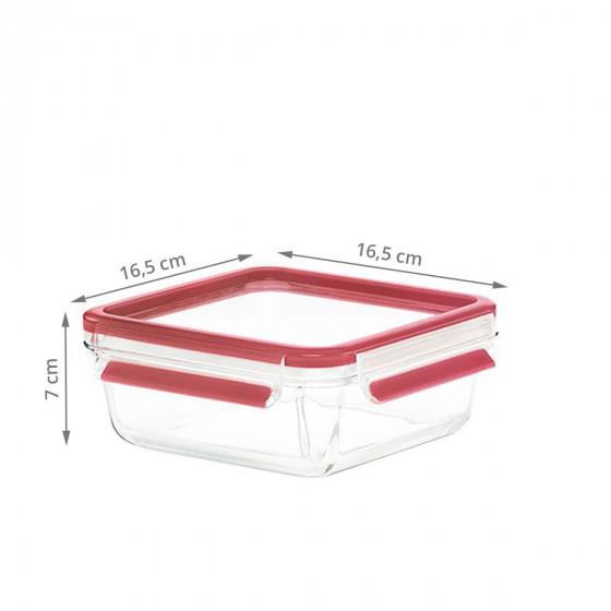 Boîte alimentaire carrée hermétique en verre. 0,9 litre