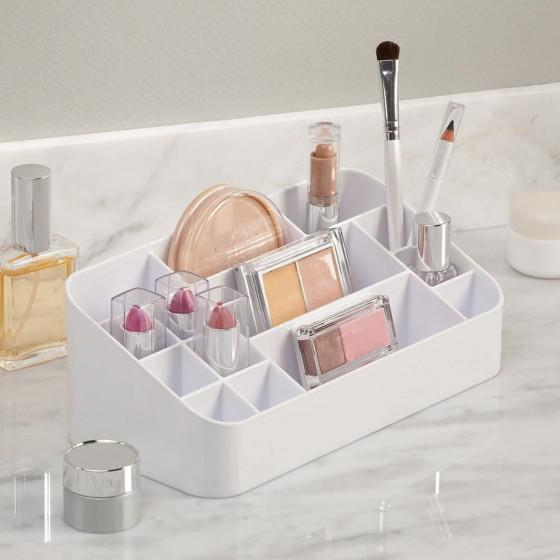 Organisateur de maquillage 13 compartiments blanc