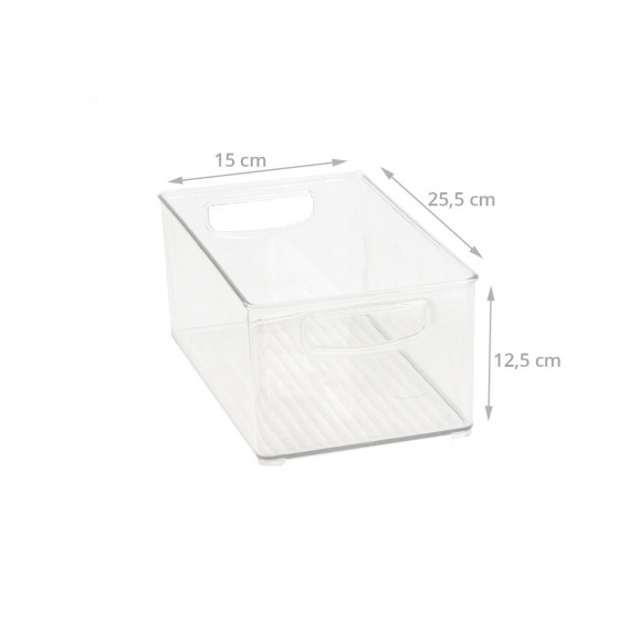 Haut bac en plastique M transparent et empilable pour organiser placards et tiroirs