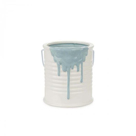 Pot à ustensiles en céramique bleue
