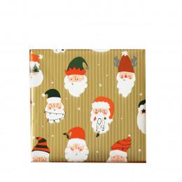 Rouleau de papier cadeau Père Noël doré - 3 mètres