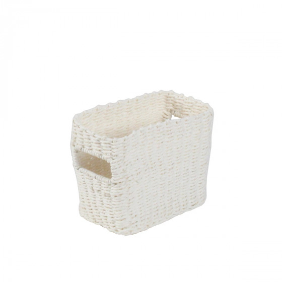 Petit panier rectangulaire tressé en papier blanc taille S