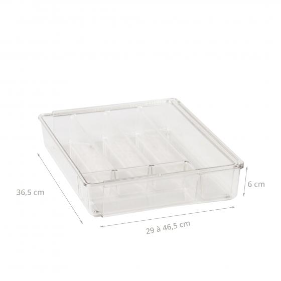 Range couverts extensible en acrylique à 6 compartiments