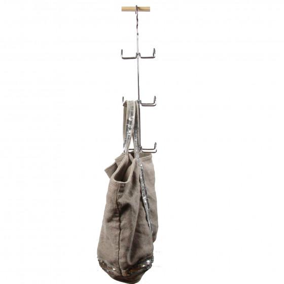Cintre porte sacs en métal chromé