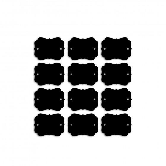 12 étiquettes noires en carton ardoise perforé