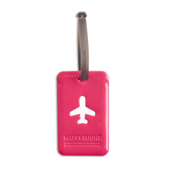 Etiquette de bagage rectangulaire en plastique fuchsia