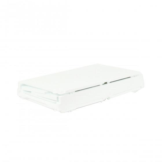 Boîte de rangement pour chaussures pliable et empilable blanche et transparente