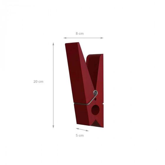 Patère intérieure et extérieure en forme de pince rouge bordeaux