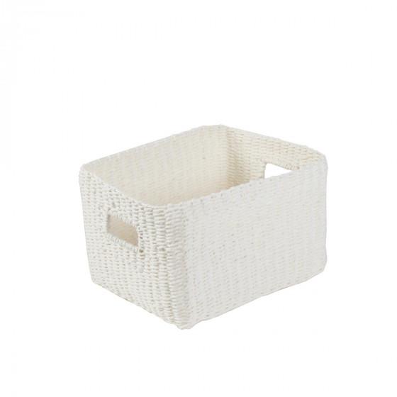 Panier rectangulaire tressé en papier blanc M